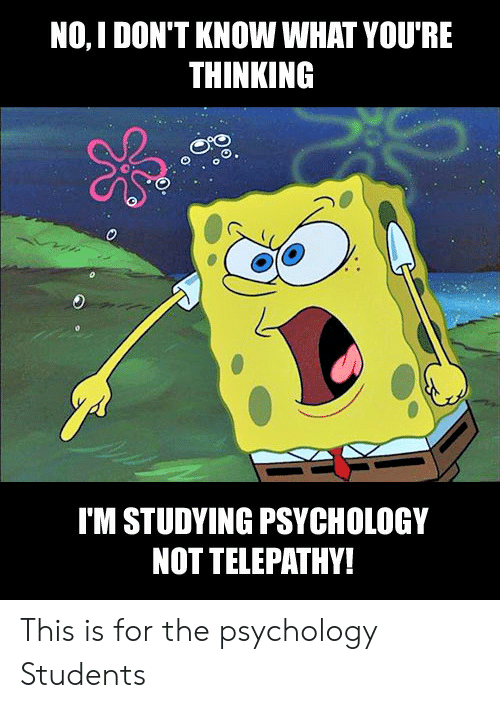 Psychology, What, and Telepathy: NO, I DON'T KNOW WHAT YOU'RE  THINKING  O.  IM STUDYING PSYCHOLOGY  NOT TELEPATHY! This is for the psychology Students