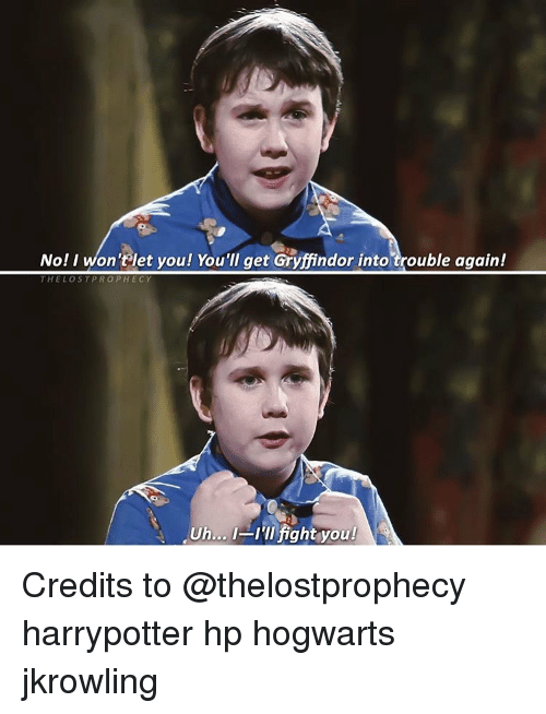 Ill Fight You: No! I won't let you! You'll get Gryffindor into trouble again!  THE LOST PRO P HECY  un... I'll fight you! Credits to @thelostprophecy harrypotter hp hogwarts jkrowling