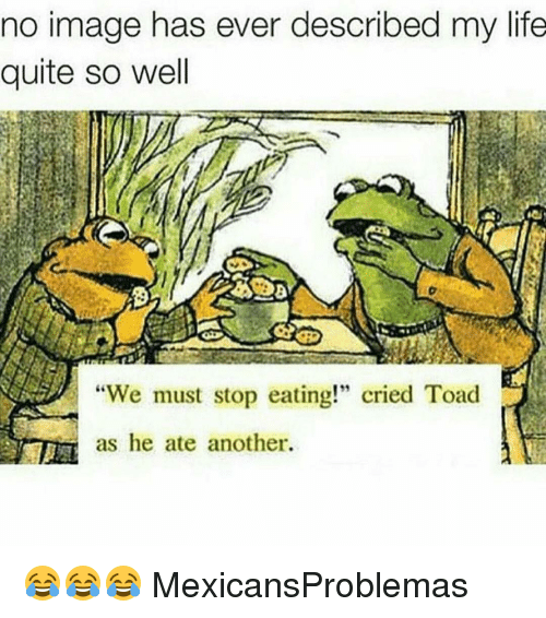 "Toade: no image has ever described my life  quite so well  ""We must stop eating!"" cried Toad  as he ate another. 😂😂😂 MexicansProblemas"