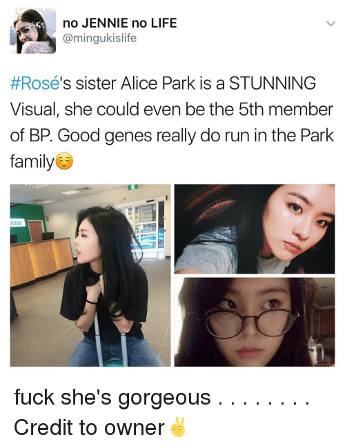 Memes, 🤖, and Alice: no JENNIE no LIFE  min  s sister Alice Park is a STUNNING  Rosé  Visual, she could even be the 5th member  of BP. Good genes really do run in the Park  family  ional fuck she's gorgeous . . . . . . . . Credit to owner✌