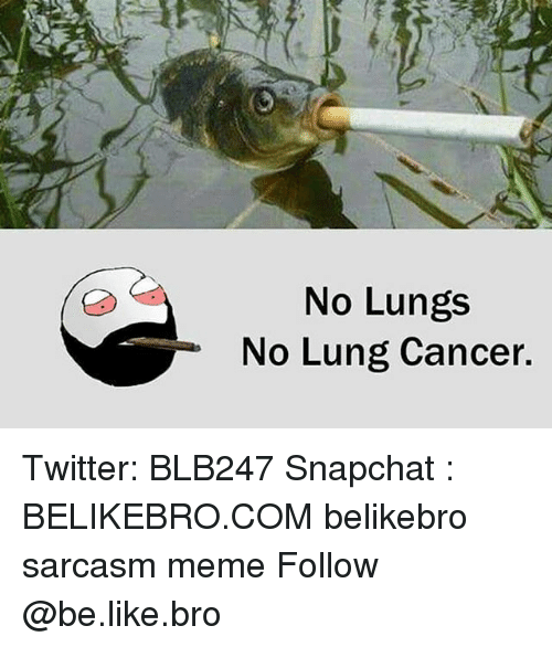 lunge: No Lungs  No Lung Cancer. Twitter: BLB247 Snapchat : BELIKEBRO.COM belikebro sarcasm meme Follow @be.like.bro