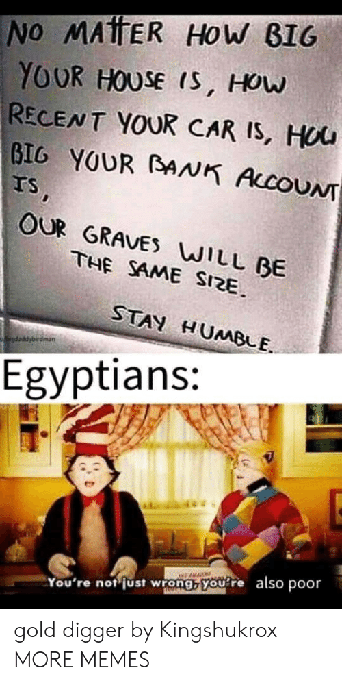 gold digger: No MATTER HOw BIG  YOUR HOUSE IS, HOw  RECENT YOUR CAR IS, HUU  GIG YOUR BANK AccoUN  Ts,  OUR GRAVES WILL BE  THE SAME SIZE  STAN HUMBLE  kaiedaddybirdman  Egyptians:  You're not just wrong, you re also poor gold digger by Kingshukrox MORE MEMES