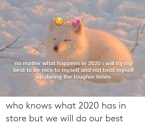 times: no matter what happens in 2020 i will try my  best to be nice to myself and not beat myself  up during the tougher times who knows what 2020 has in store but we will do our best