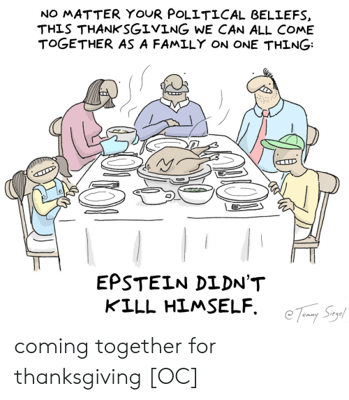 political: NO MATTER YOUR POLITICAL BELIEFS  THIS THANKSGIVING WE CAN ALL COME  TOGETHER AS A FAMILY ON ONE THING  EPSTEIN DIDN'T  KILL HIMSELF coming together for thanksgiving [OC]