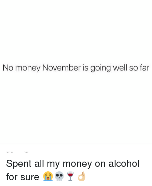No Money November: No money November is going well so far Spent all my money on alcohol for sure 😭💀🍷👌🏼
