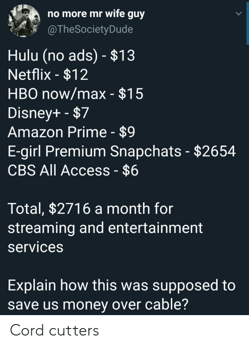 Amazon, Amazon Prime, and Disney: no more mr wife guy  @TheSociety Dude  Hulu (no ads) - $13  Netflix -$12  HBO now/max - $15  Disney+ -$7  Amazon Prime - $9  E-girl Premium Snapchats - $2654  CBS All Access - $6  Total, $2716 a month for  streaming and entertainment  services  Explain how this was supposed to  save us money over cable? Cord cutters