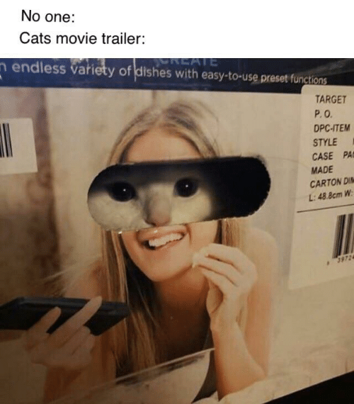 Cats, Target, and Movie: No one:  Cats movie trailer:  REATE  n endless variety of dishes with easy-to-use preset functions  REATE  TARGET  P.O  DPC-ITEM  STYLE  CASE PA  MADE  CARTON DI  L:48.8cm W  3972