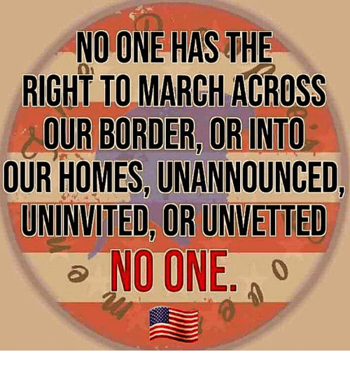 Memes, 🤖, and One: NO ONE HAS THE  RIGHT TO MARCH ACROSS  OUR BORDER, OR INTO  OUR HOMES, UNANNOUNCED,  UNINVITED, OR UNVETTED  NO ONE. A