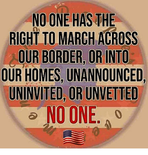 Memes, 🤖, and One: NO ONE HAS THE  RIGHT TO MARCH ACROSS  OUR BORDER OR INTO  OUR HOMES, UNANNOUNCED,  UNINVITED, OR UNVETTED  NO ONE. A