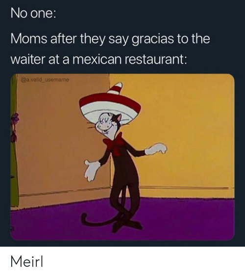Mexican: No one:  Moms after they say gracias to the  waiter at a mexican restaurant:  @a.valid_username Meirl