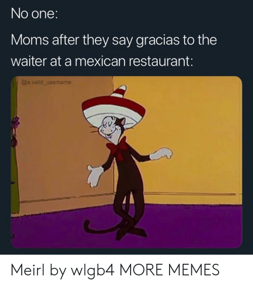 Mexican: No one:  Moms after they say gracias to the  waiter at a mexican restaurant:  @a.valid_username Meirl by wlgb4 MORE MEMES