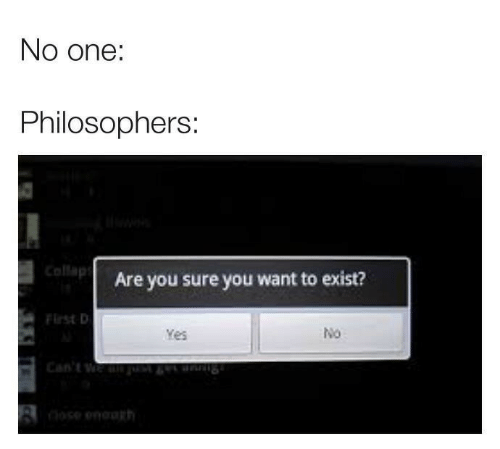 philosophers: No one:  Philosophers:  Collap  Are you sure you want to exist?  Flrst D  No  Yes  8  rh