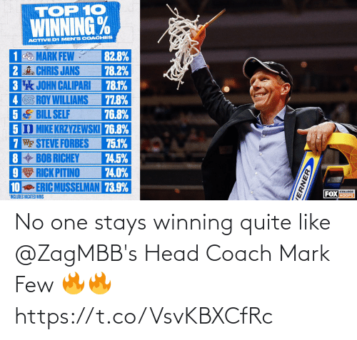 mark: No one stays winning quite like @ZagMBB's Head Coach Mark Few 🔥🔥 https://t.co/VsvKBXCfRc