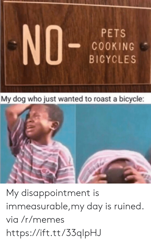 Memes, Roast, and Bicycle: NO-  PETS  COOKING  BICYCLES  My dog who just wanted to roast a bicycle My disappointment is immeasurable,my day is ruined. via /r/memes https://ift.tt/33qlpHJ