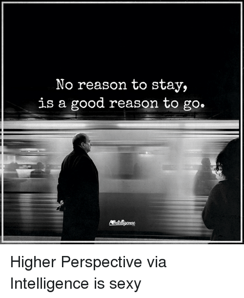 Memes, Sexy, and Good: No reason to stay,  is a good reason to go. Higher Perspective via Intelligence is sexy