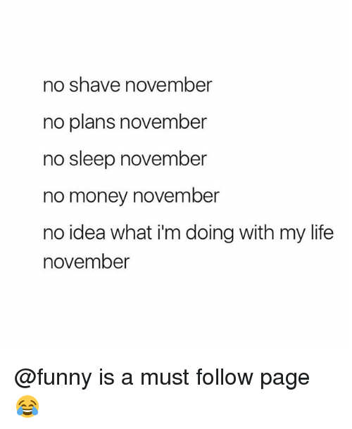 No Money November: no shave november  no plans november  no sleep november  no money november  no idea what i'm doing with my life  november @funny is a must follow page 😂