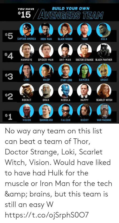 iron: No way any team on this list can beat a team of Thor, Doctor Strange, Loki, Scarlet Witch, Vision. Would have liked to have had Hulk for the muscle or Iron Man for the tech & brains, but this team is still an easy W https://t.co/ojSrphS0O7