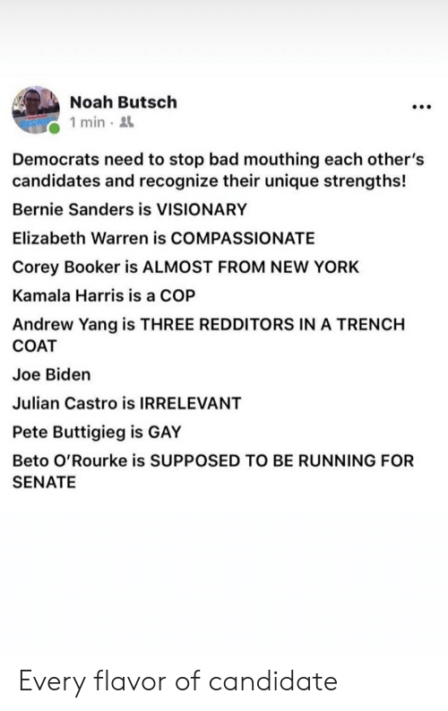 Bad, Bernie Sanders, and Elizabeth Warren: Noah Butsch  1 min-  Democrats need to stop bad mouthing each other's  candidates and recognize their unique strengths!  Bernie Sanders is VISIONARY  Elizabeth Warren is COMPASSIONATE  Corey Booker is ALMOST FROM NEW YORK  Kamala Harris is a COP  Andrew Yang is THREE REDDITORS IN A TRENCH  COAT  Joe Biden  Julian Castro is IRRELEVANT  Pete Buttigieg is GAY  Beto O'Rourke is SUPPOSED TO BE RUNNING FOR  SENATE Every flavor of candidate