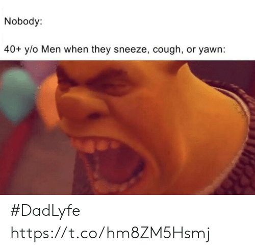 Funny, Yawn, and They: Nobody:  40+ y/o Men when they sneeze, cough, or yawn: #DadLyfe https://t.co/hm8ZM5Hsmj