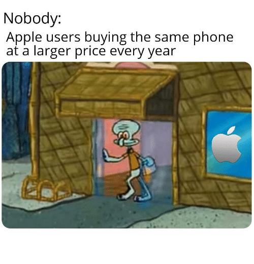 Larger: Nobody:  Apple users buying the same phone  at a larger price every year Android Good