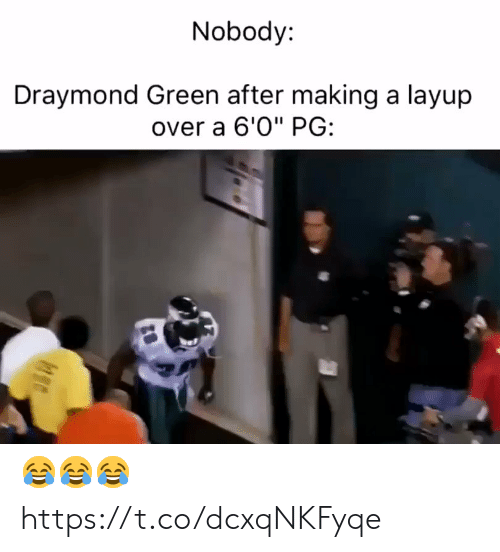 """Draymond Green: Nobody:  Draymond Green after making a layup  over a 6'0"""" PG: 😂😂😂 https://t.co/dcxqNKFyqe"""