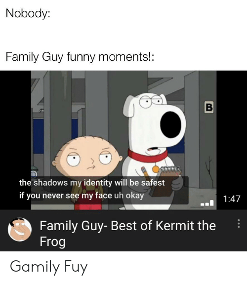 Gamily: Nobody:  Family Guy funny moments!:  the shadows my identity will be safest  if you never see my face uh okay  1:47  Family Guy- Best of Kermit the  Frog Gamily Fuy