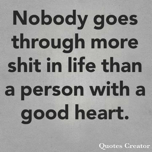 Life, Memes, and Shit: Nobody goes  through more  shit in life than  a person with a  good heart  Quotes Creator