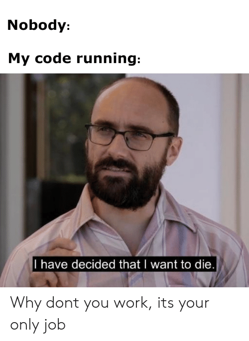 Work, Running, and Job: Nobody:  My code running:  l have decided thatI want to die Why dont you work, its your only job