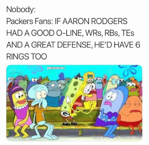Aaron Rodgers: Nobody:  Packers Fans: IF AARON RODGERS  HAD A GOOD O-LINE, WRs, RBs, TEs  AND A GREAT DEFENSE, HE'D HAVE 6  RINGS TOO  MEMESOFNFL  NW