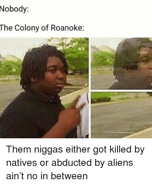 Colony: Nobody:  The Colony of Roanoke: Them niggas either got killed by natives or abducted by aliens ain't no in between