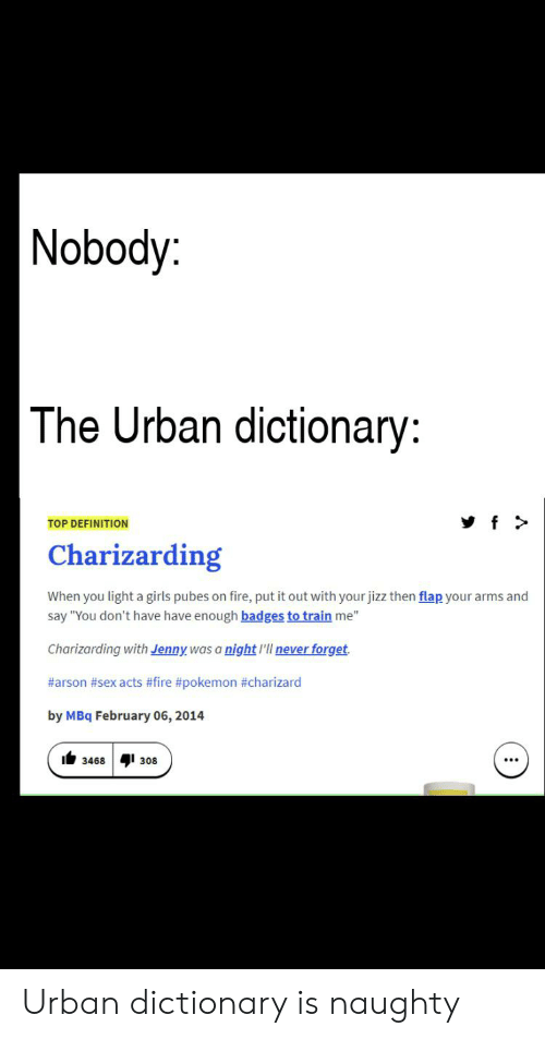 "Charizarding: |Nobody:  The Urban dictionary:  f>  TOP DEFINITION  Charizarding  When you light a girls pubes on fire, put it out with your jizz then flap your arms and  say ""You don't have have enough badges to train me""  Charizarding with Jenny was a night l'll never forget  #arson #sex acts #fire #pokemon #charizard  by MBq February 06, 2014  308  3468 Urban dictionary is naughty"