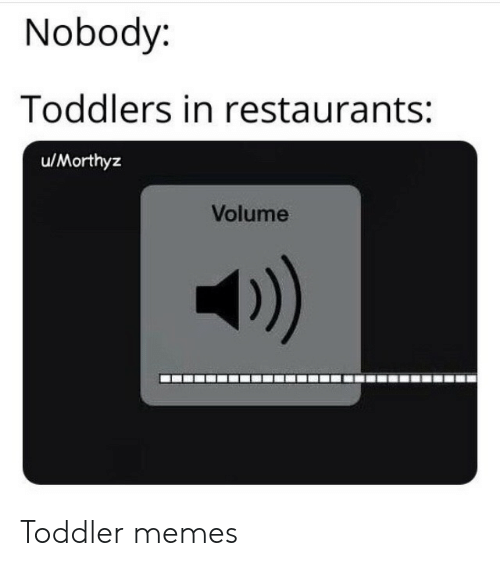Memes, Restaurants, and Toddler: Nobody:  Toddlers in restaurants:  u/Morthyz  Volume  )) Toddler memes