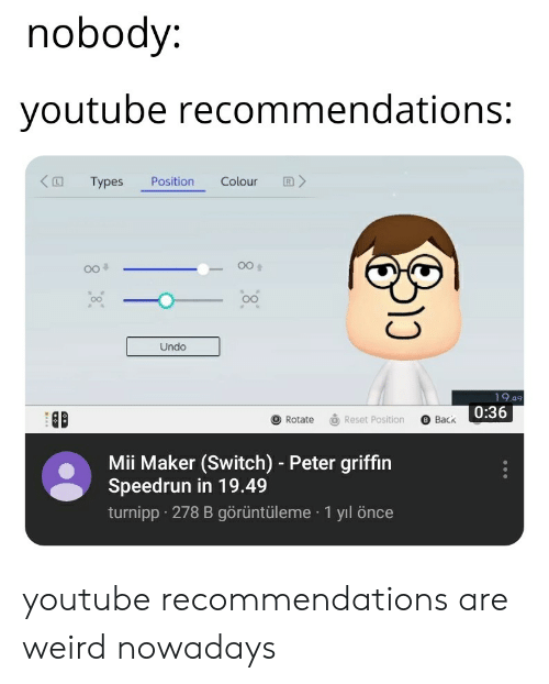 Nobody Youtube Recommendations Types Position Colour R > -00