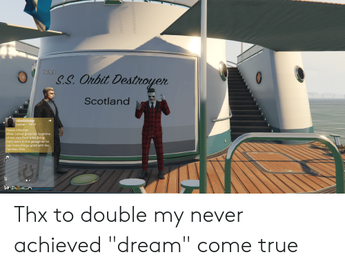 """Cars, True, and Good: Noob_nb  S.S. Orbit Destnoyer  Scotland  ruhaodashuaige  Lamar - NEW  Peace Offerings  When Lamar gives the locations  of two cars from a list, bring  them back to the garage so he  can make things good with the  Families OGs. Thx to double my never achieved """"dream"""" come true"""
