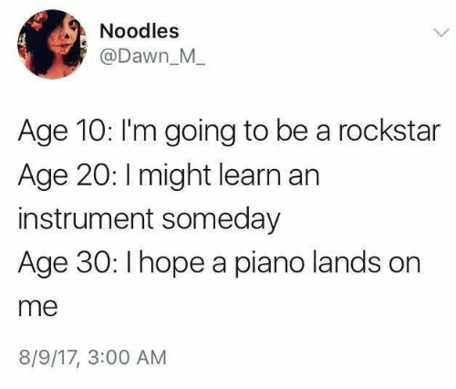 Dawn: Noodles  @Dawn_M  Age 10: I'm going to be a rockstar  Age 20: I might learn an  instrument someday  Age 30: Ihope a piano lands on  me  8/9/17, 3:00 AM