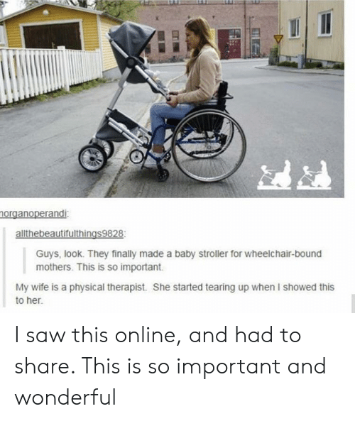 tearing: norganoperandi:  allthebeautifulthings9828  Guys, look. They finally made a baby stroller for wheelchair-bound  mothers. This is so important  My wife is a physical therapist. She started tearing up when I showed this  to her. I saw this online, and had to share. This is so important and wonderful