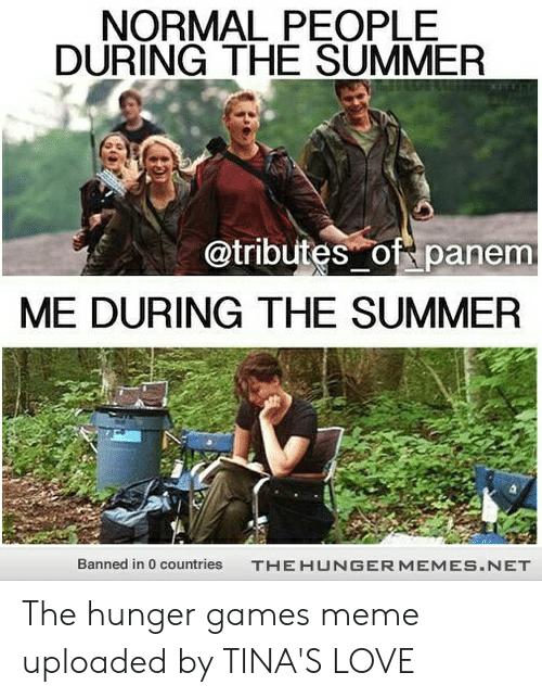 Hunger Games Meme: NORMAL PEOPLE  DURING THE SUMMER  @tributes of panem  ME DURING THE SUMMER  Banned in 0 countries  THEHUNGERMEMES.NET The hunger games meme uploaded by TINA'S LOVE