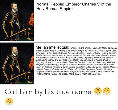 Barcelona, Empire, and God: Normal People: Emperor Charles V of the  Holy Roman Empire  Me, an intellectual: Charies. by the grace of God,Holy Roman Emperor,  forever August, King of Germany, King of Italy, King of all Spains, of Castile, Aragon, León,  of Hungary, of Dalmatia, of Croatia, Navarra, Grenada, Toledo, Valencia, Galicia, Majorca,  Sevilla, Cordova, Murcia, Jaén, Algarves, Algeciras, Gibraltar, the Canary Islands, King of  Two Sicilies, of Sardinia, Corsica, King of Jerusalem, King of the Western and Eastern  Indies, of the Islands and Mainland of the Ocean Sea, Archduke of Austria, Duke of  Burgundy, Brabant, Lorraine, Styria, Carinthia, Carniola, Limburg, Luxembourg, Gelderland,  Neopatria, Württemberg, Landgrave of Alsace, Prince of Swabia, Asturia and Catalonia,  Count of Flanders, Habsburg, Tyrol, Gorizia, Barcelona, Artois, Burgundy Palatine, Hainaut,  Holland, Seeland, Ferrette, Kyburg, Namur, Roussillon, Cerdagne, Drenthe, Zutphen  Margrave of the Holy Roman Empire, Burgau, Oristano and Gociano, Lord of Frisia, the  Wendish March, Pordenone, Biscay, Molin, Salins, Tripoli and Mechelen. Call him by his true name 😤😤😤