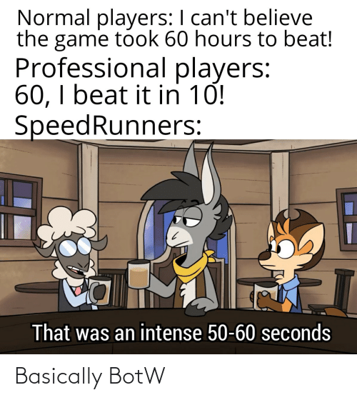 The Game: Normal players: I can't believe  the game took 60 hours to beat!  Professional players:  60, I beat it in 10!  SpeedRunners:  That was an intense 50-60 seconds Basically BotW