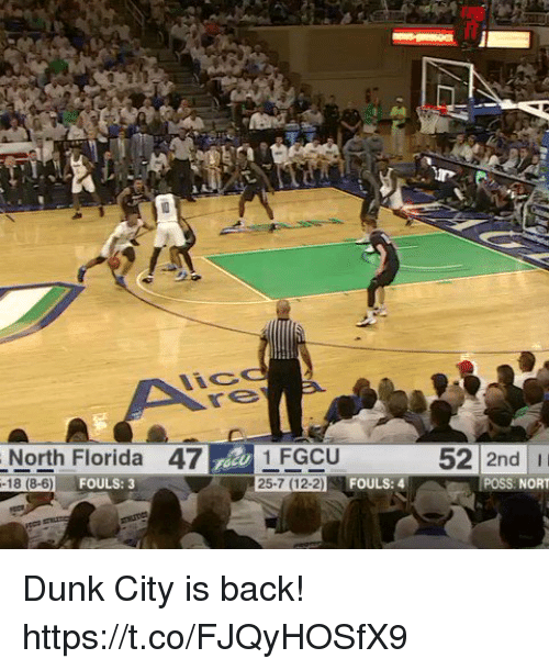 Norting: North Florida 47 1 FGCU  52 2nd I  25-7 (12-2  FOULS: 4  POSS NORT  FOULS: 3  -18 (8-6) Dunk City is back! https://t.co/FJQyHOSfX9