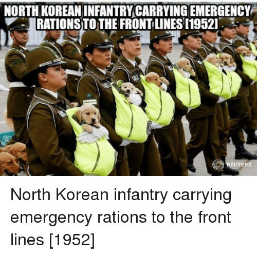 north korean: NORTH KOREAN INFANTRY CARRYING EMERGENCY  RATIONS TOTHE FRONT LINES [19521 North Korean infantry carrying emergency rations to the front lines [1952]