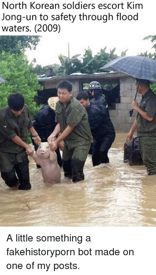 Kim Jong-Un, Politics, and Soldiers: North Korean soldiers escort Kim  Jong-un to safety through flood  waters. (2009)