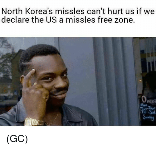 Penies: North Korea's missles can't hurt us if we  declare the US a missles free zone.  peni  Mon (GC)