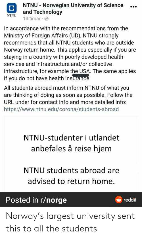students: Norway's largest university sent this to all the students