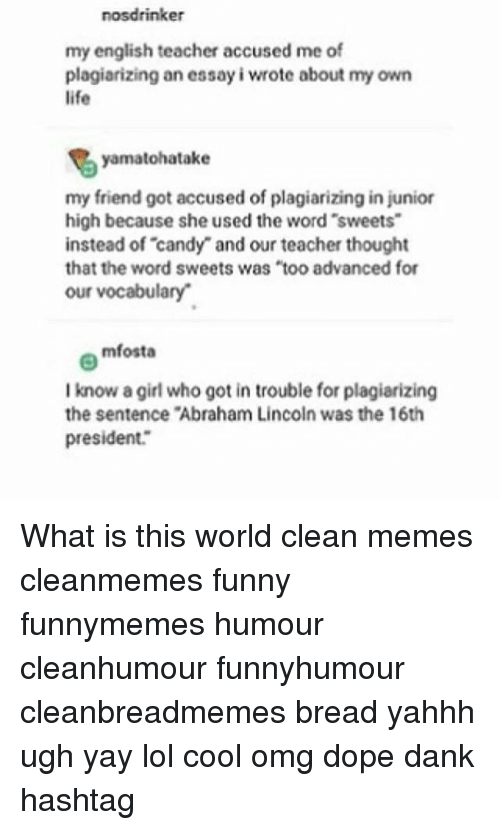 Nosdrinker My English Teacher Accused Me Of Plagiarizing An Essay I  Abraham Lincoln Candy And Dank Nosdrinker My English Teacher Accused Me  Of Plagiarizing