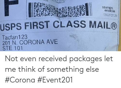 packages: Not even received packages let me think of something else #Corona #Event201