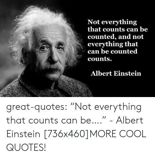 """Counted: Not everything  that counts can be  counted, and not  everything that  can be counted  counts.  Albert Einstein great-quotes:  """"Not everything that counts can be…."""" - Albert Einstein [736x460]MORE COOL QUOTES!"""