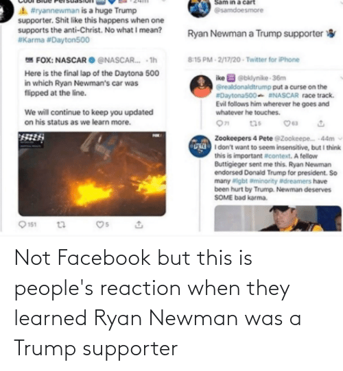 Newman: Not Facebook but this is people's reaction when they learned Ryan Newman was a Trump supporter