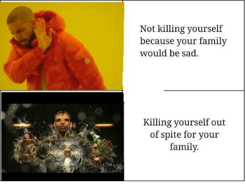 Family, Sad, and For: Not killing yourself  because your family  would be sad  Killing yourself out  of spite for your  family.