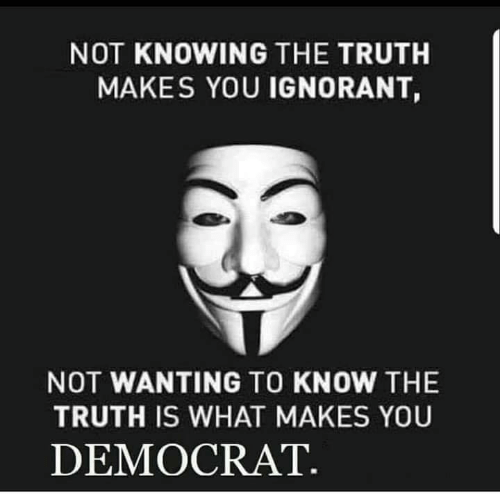 Ignorant, Memes, and Truth: NOT KNOWING THE TRUTH  MAKES YOU IGNORANT,  NOT WANTING TO KNOW THE  TRUTH IS WHAT MAKES YOU  DEMOCRAT